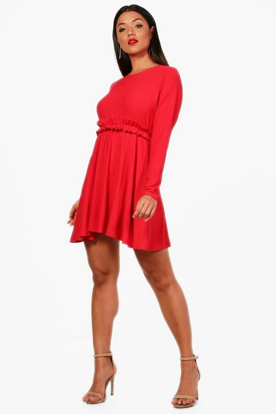 Micro Ruffle Skater Dress