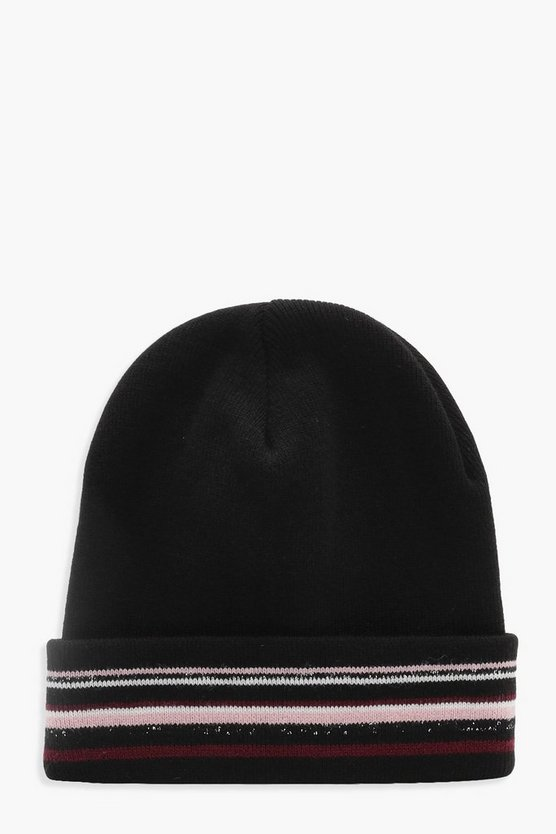 Womens Glitter Mixed Stripe Beanie
