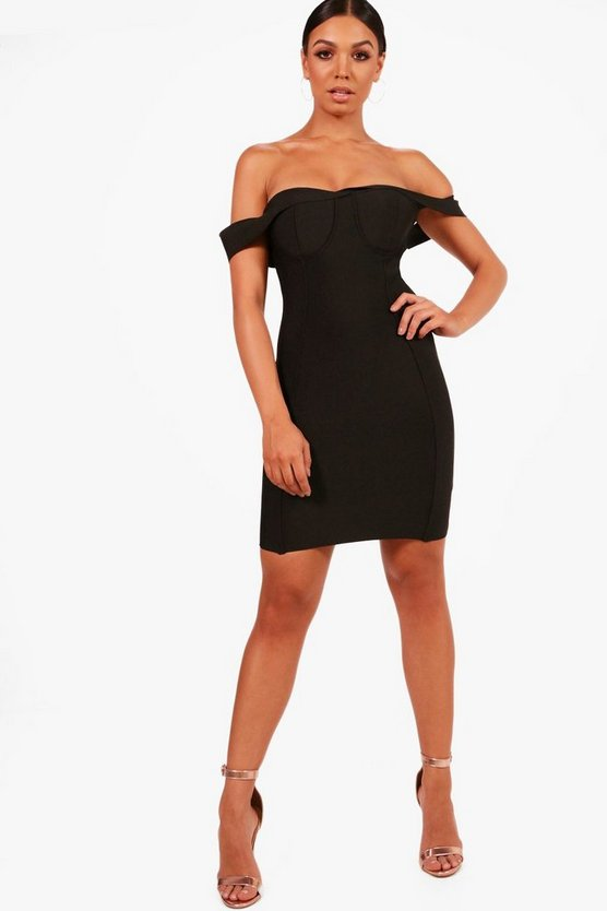 Boutique Premium Bandage Off The Shoulder Dress