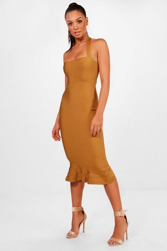 Boutique Bandage Peplum Hem Midi Dress