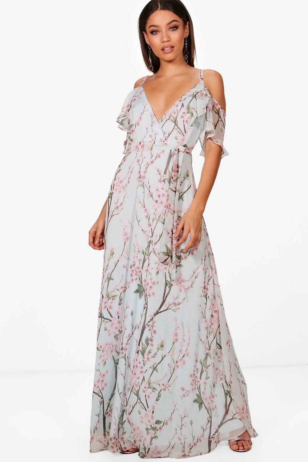 008379ba7a9 Womens Blue Strappy Floral Cold Shoulder Maxi Dress. Hover to zoom