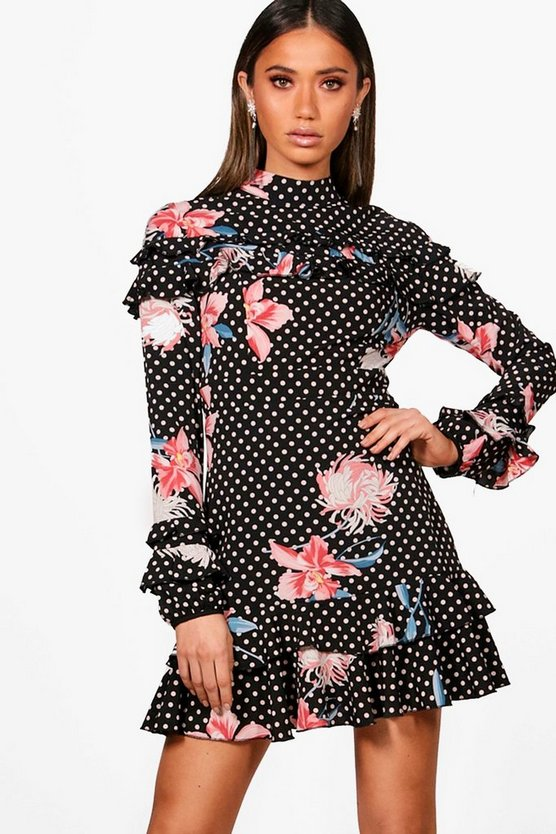 Womens Black Boutique  Polka Floral Ruffle High Neck Dress