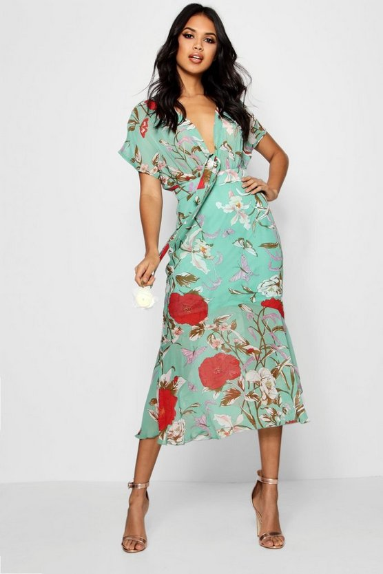 Boutique Kira Tie Front Drop Hem Midi Dress