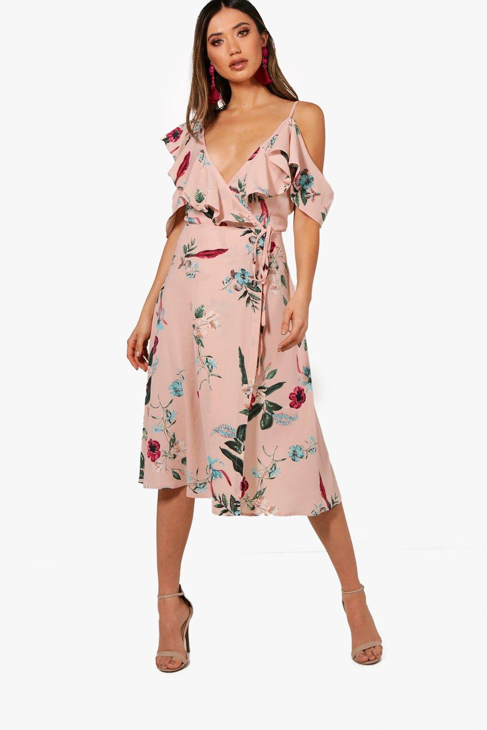 dbc426338ed Womens Nude Floral Ruffle Wrap Dress. Hover to zoom
