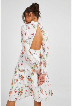 Womens Ivory Boutique  Floral Long Sleeve Skater Dress