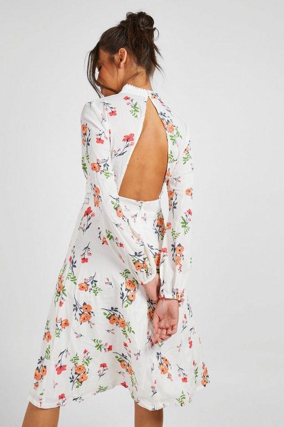 Boutique  Floral Long Sleeve Skater Dress
