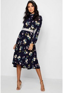 Womens Navy Boutique  Floral Long Sleeve Skater Dress