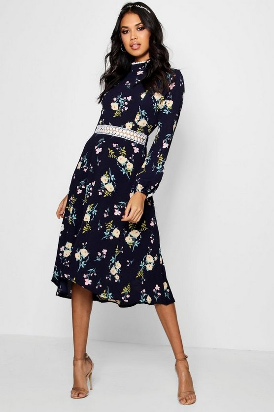 Boutique Floral Long Sleeve Skater Dress