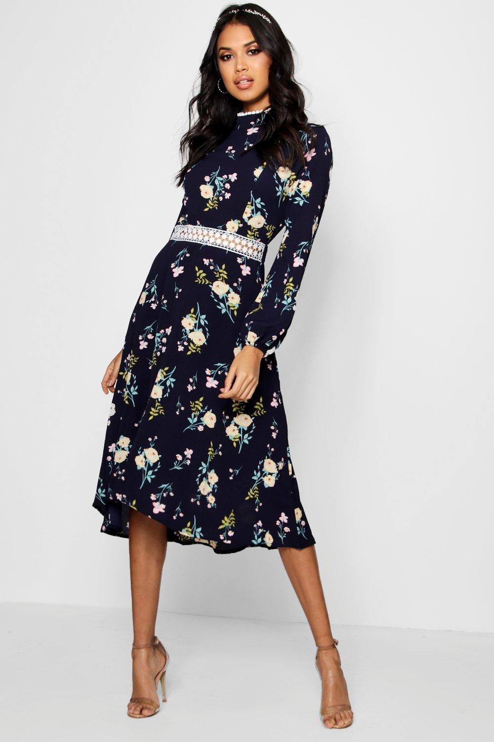 cheap shop for exceptional range of colors Boutique Floral Long Sleeve Skater Dress | Boohoo