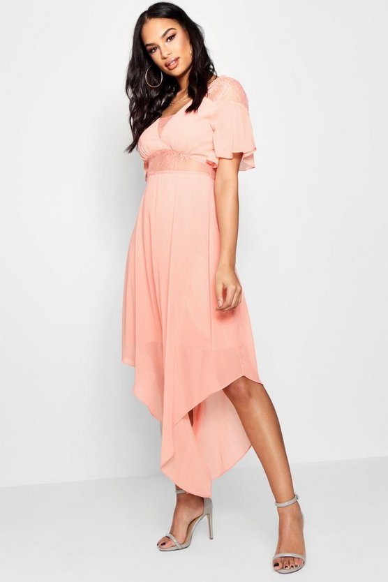 Boutique Lace Insert Hanky Hem Dress