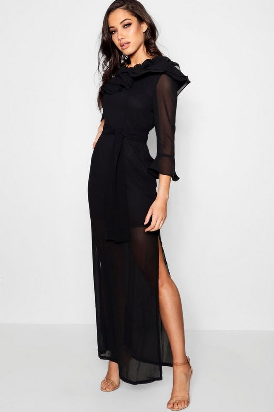 Boutique  Off the Shoulder Maxi Dress