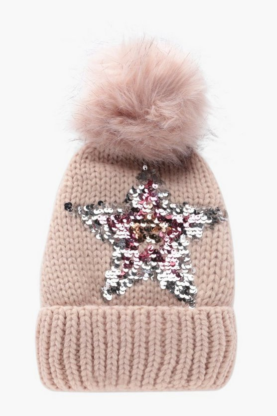 Ivy Sequin Star Fleece Lined Hat