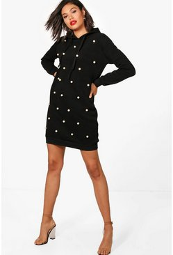 Womens Black Polly Pearl Sweat Hoody Dress