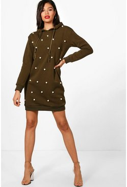 Womens Green Polly Pearl Sweat Hoody Dress