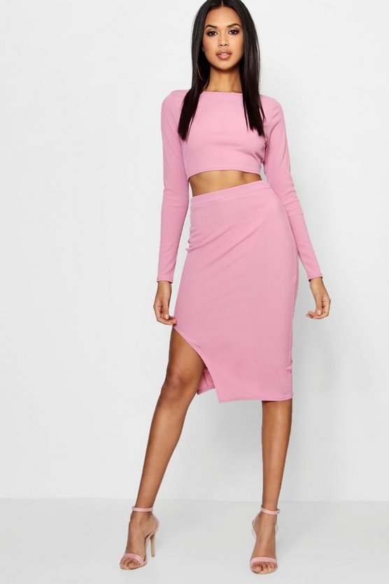 Adina Ribbed Crop Top and Midi Skirt Set
