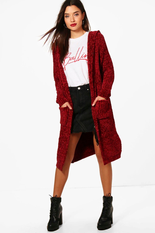 Boohoo Womens Gabbie Chenille Hooded Cardigan | eBay