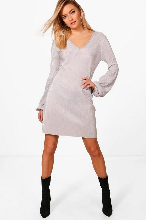 Balloon Sleeve Pleated Shift Dress