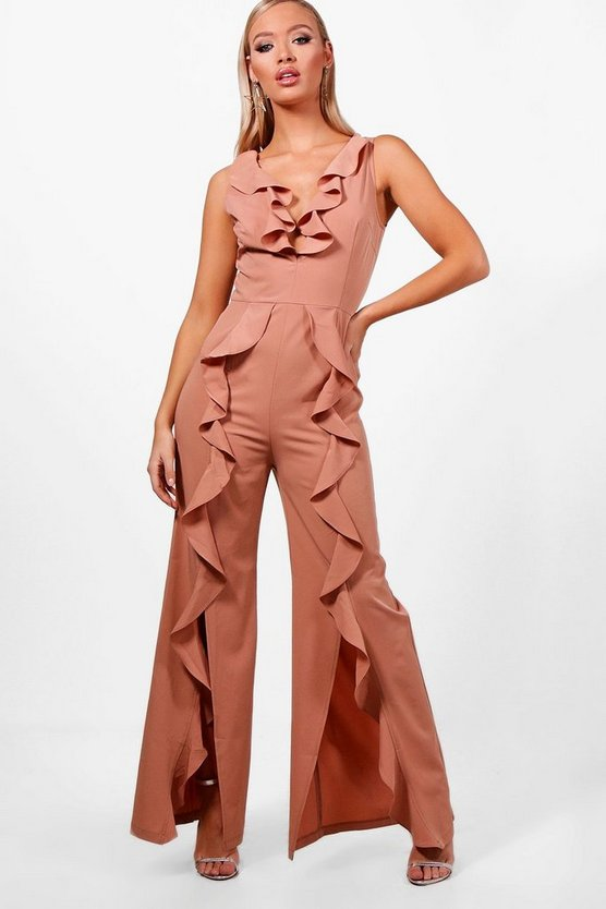 Ruffle Wide Leg Tailored Jumpsuit