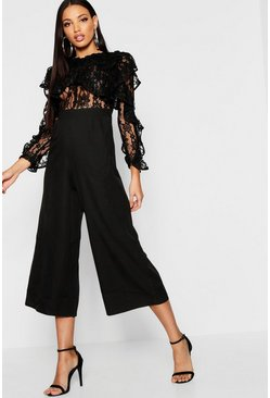 Black All Over Lace Ruffle Culotte Jumpsuit