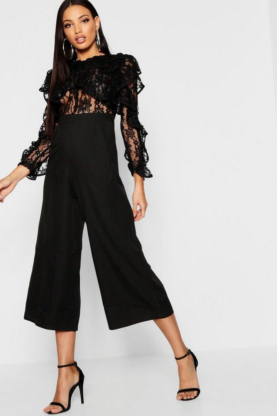 All Over Lace Ruffle Culotte Jumpsuit