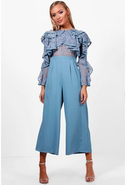 Womens Blue All Over Lace Ruffle Culotte Jumpsuit