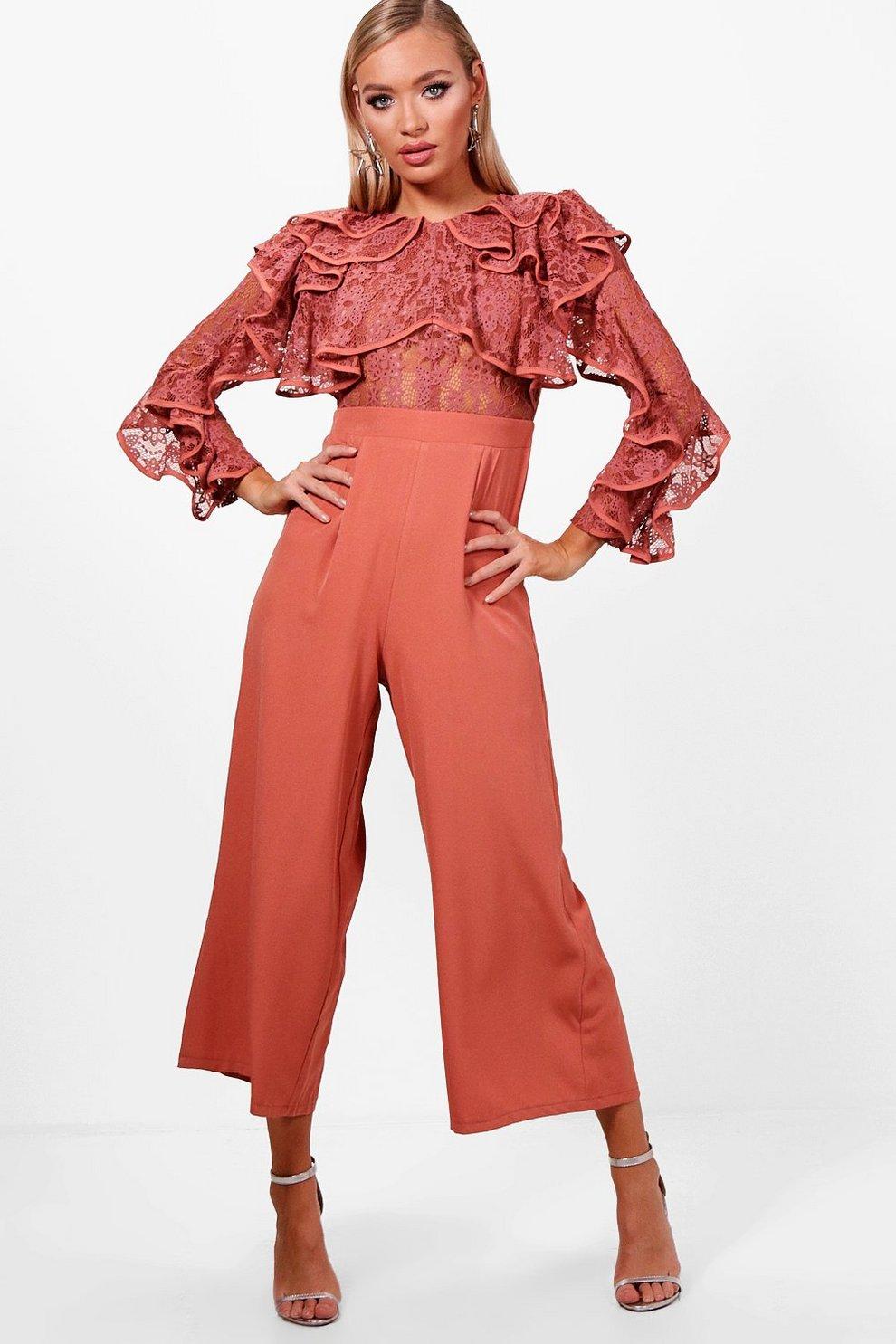 c2365e65b0bf All Over Lace Ruffle Culotte Jumpsuit