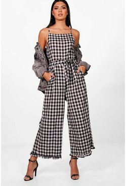 Womens Black Gingham Frill Hem Square Neck Jumpsuit