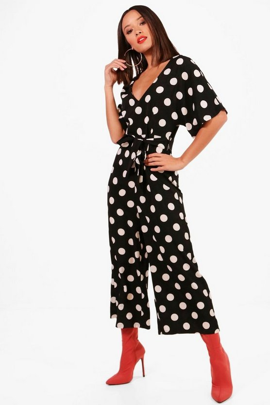Maisie Polka Dot Capped Sleeve Culotte Jumpsuit