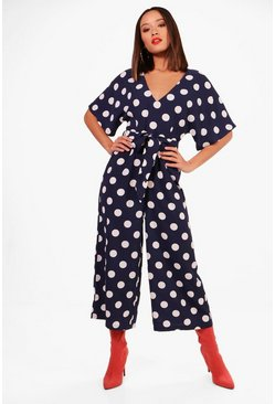Womens Navy Polka Dot Capped Sleeve Culotte Jumpsuit