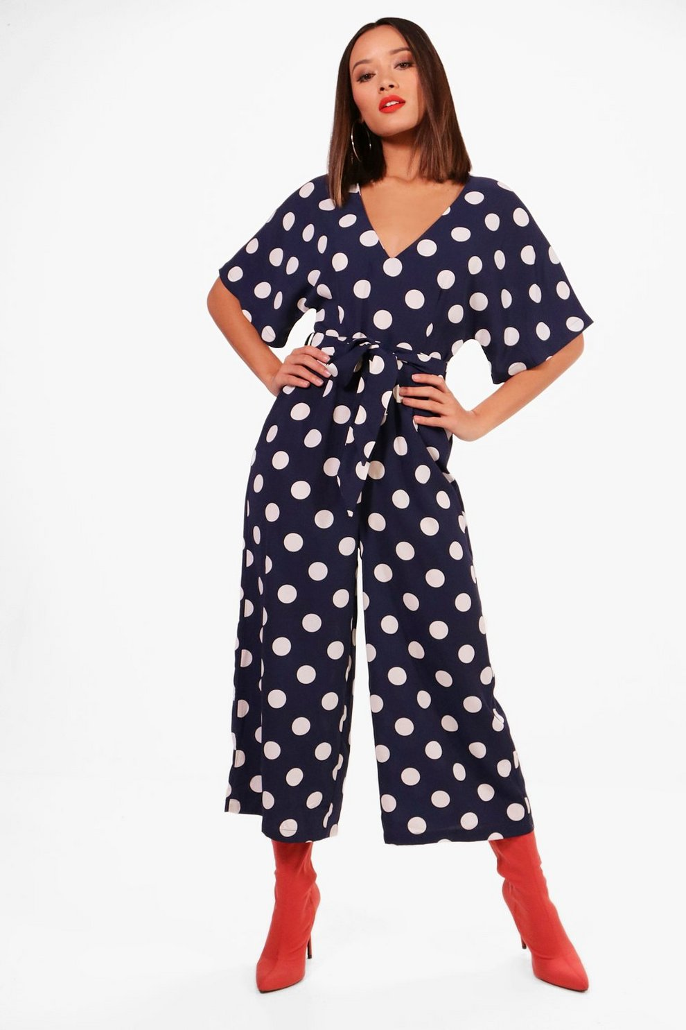 bc250e9263c8 Polka Dot Capped Sleeve Culotte Jumpsuit