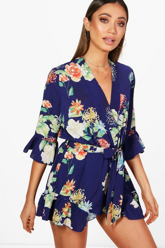Womens Navy Floral Kimono Style Playsuit