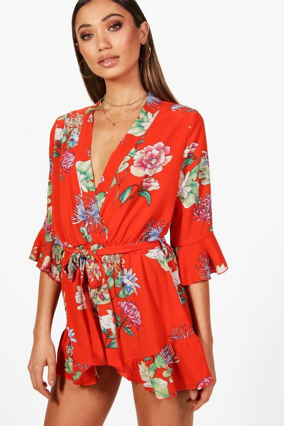 Womens Orange Floral Kimono Style Playsuit