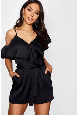 Womens Black Asymmetric Neckline Satin Playsuit
