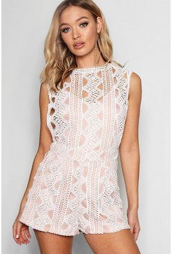 Womens Ivory All Over Crochet Playsuit