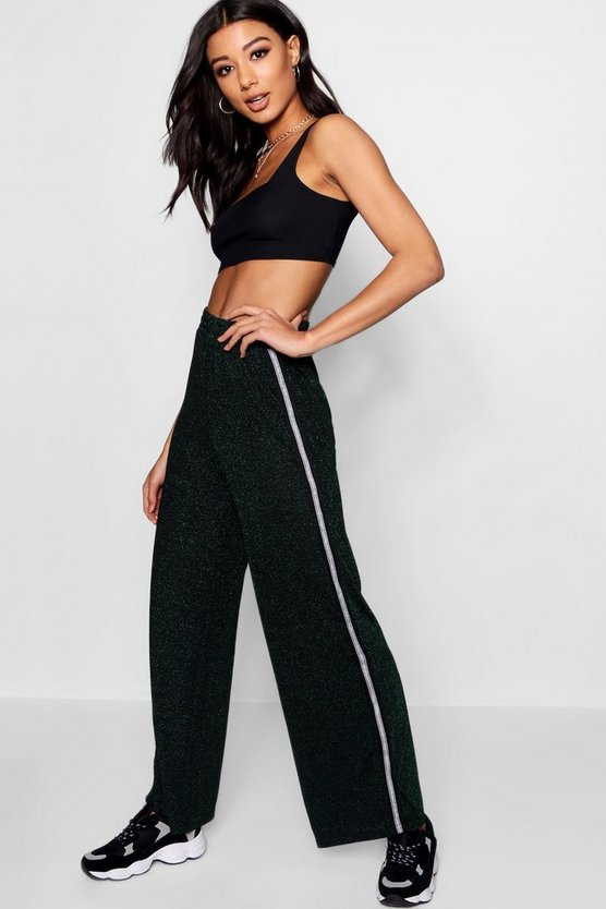 Lurex Sports Rib Track Pants