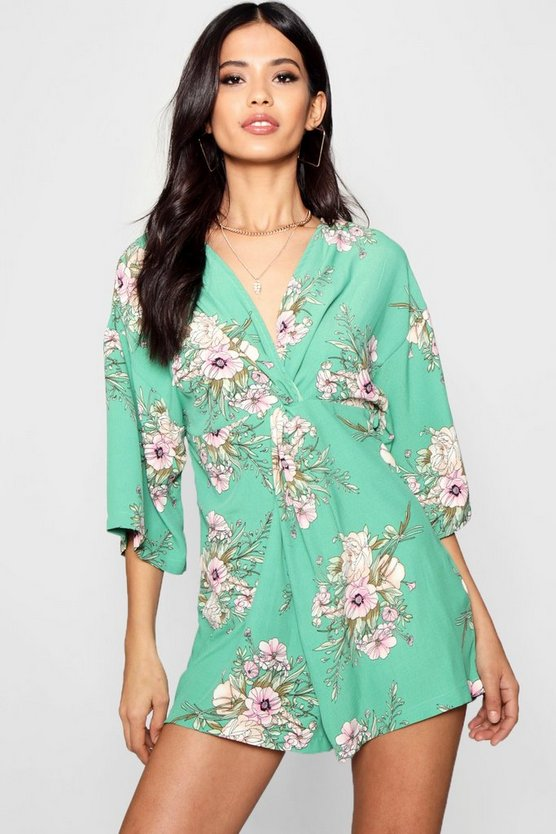 Tanya Floral Kimono Style Playsuit