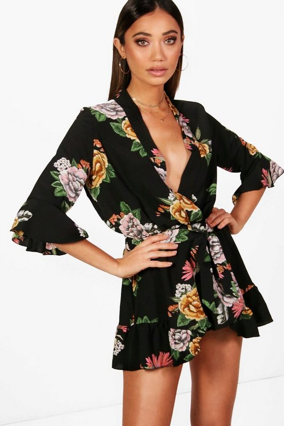 Black Oriental Kimono Style Belted Playsuit