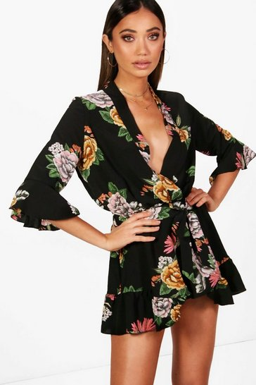 Black Oriental Floral Kimono Wrap Style Belted Playsuit