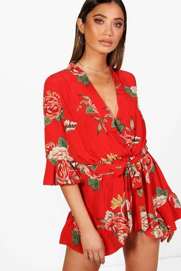 Womens Red Oriental Kimono Style Belted Playsuit