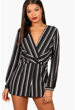 Womens Black Striped Twist Front Romper