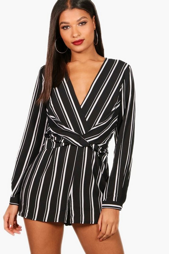 Womens Black Striped Twist Front Playsuit