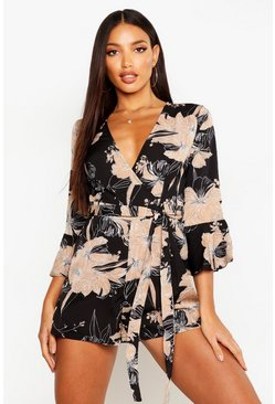 Womens Black Floral Wrap & Ruffle Sleeve Romper