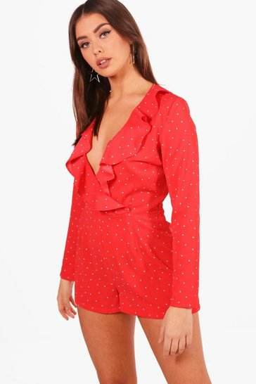 Womens Red Small Polka Dot Tea Style Playsuit