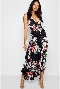 Black Boutique Lo Floral Satin Ruffle Dip Hem Dress
