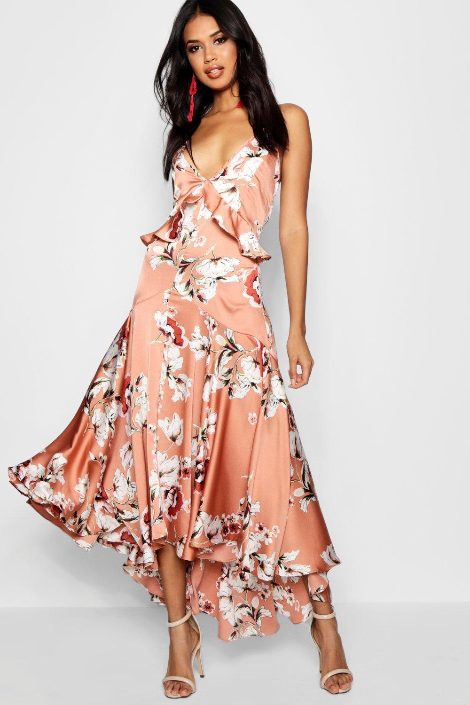 1b4c2383f0e Boutique Lo Floral Satin Ruffle Dip Hem Dress