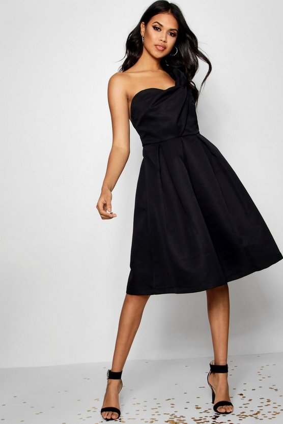 Off the Shoulder Structured Midi Dress