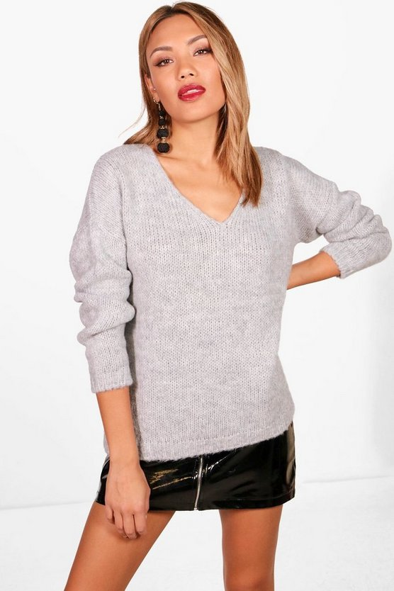 Slouchy V Neck Fluffy Premium Jumper