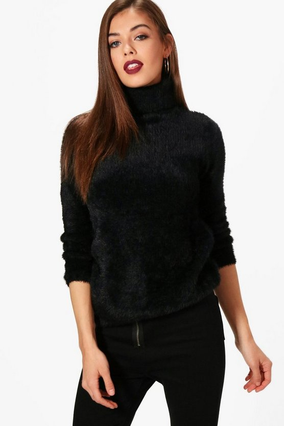 Womens Black Fluffy Roll Neck Jumper