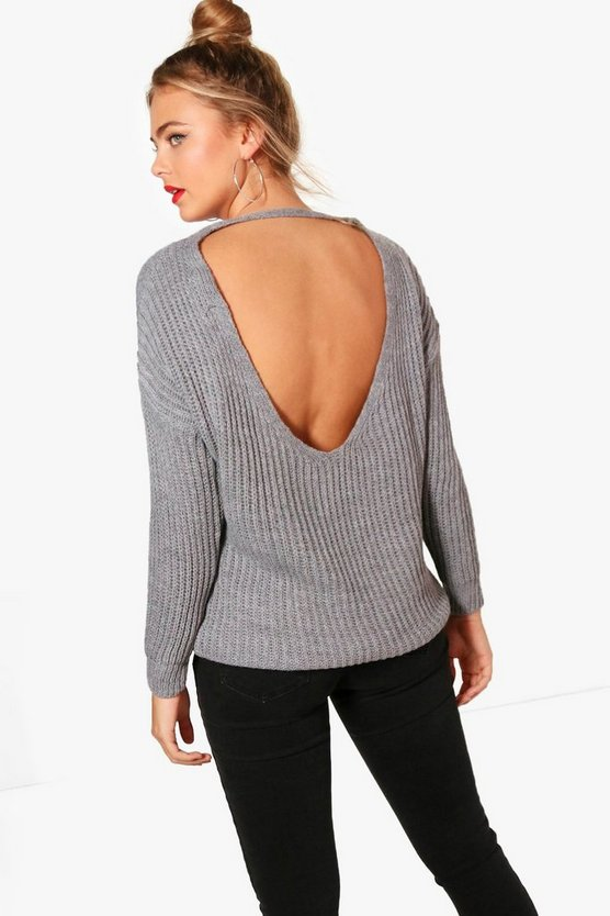 Low V Back Knitted Jumper