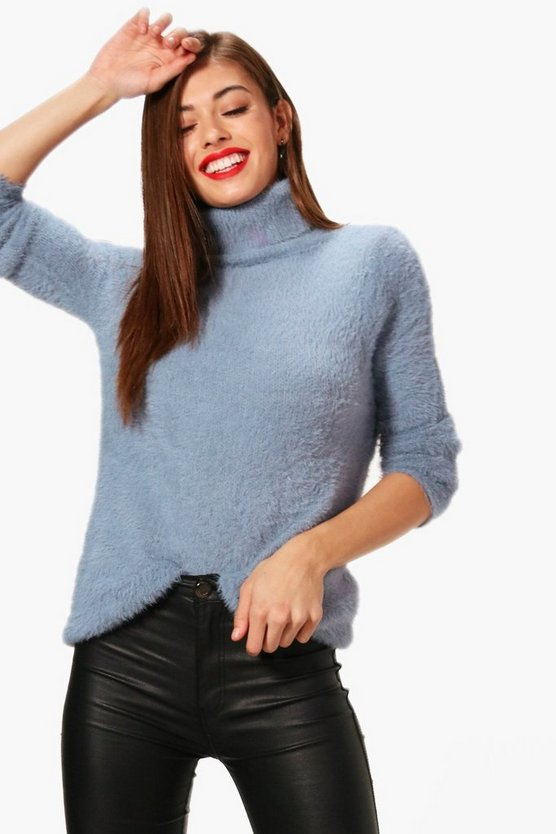 Lola Fluffy Roll Neck Oversized Jumper